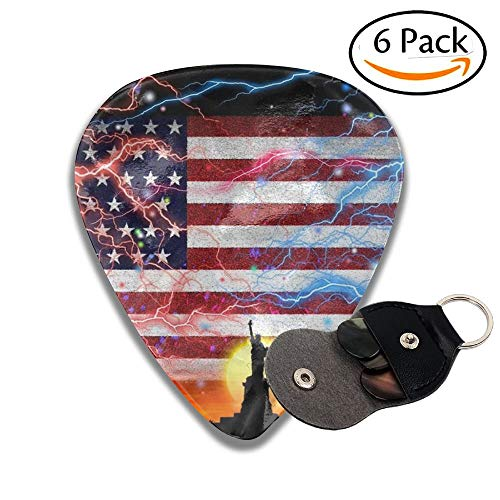 Usa Flag Celluloid Guitar Picks 6 Pack Includes Thin, Medium, Heavy & Extra Heavy Gauges 0.46mm -