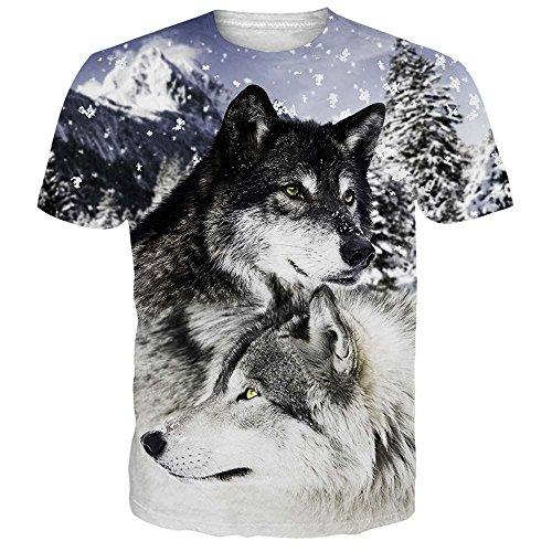 NEWISTAR Unisex Herren Damen Couple 3D T Shirts Tee Short Sleeve Shirts S (Schildkröte Zwei Licht)
