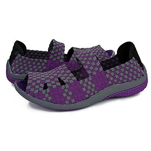 Loafer Chaussures Plates Fish Head Chaussures Tissées à la Main de la Femme Violet