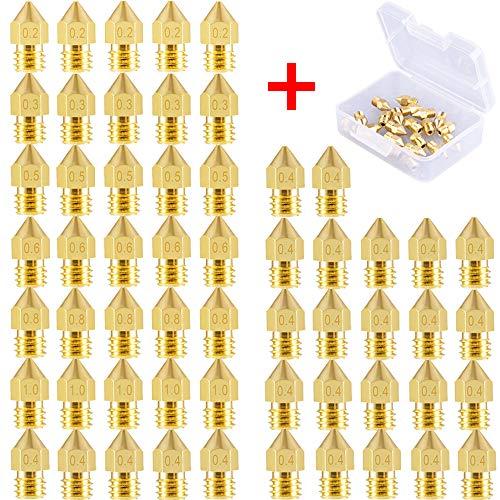 SIQUK 52 Stück MK8 Düse 3D Drucker Düsen 0,2 mm, 0,3 mm, 0,4 mm, 0,5 mm, 0,6 mm, 0,8 mm, 1,0 mm Extruder Druckkopf für 3D Drucker Makerbot Creality CR-10 mit Aufbewahrungsbox