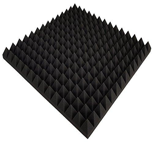 Mousse acoustique 40 plaques, env. 50 x 50 x 7 cm, anthracite noir, env. 10 m², mousse alvéolée, Pyramide, mousse de mousse