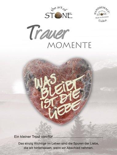 The Art of Stone Trauer Momente (Marmorsteinherz) was bleibt ist Liebe (Motiv 02) Unikat - Hand beschriftet