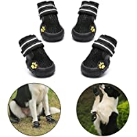 Royalcare Dog Shoes Protective Boots Mesh Breathable Pet Shoes with Wear-resistant and Rugged Anti-Slip Sole Suitable for Medium to Large Dogs Black (7#)