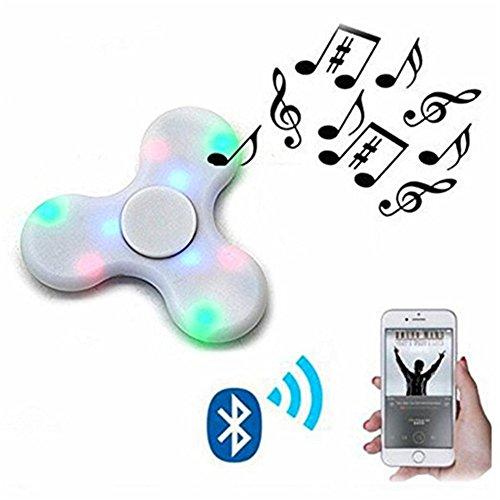 Preisvergleich Produktbild Bluetooth Lautsprecher Fidget Spinner LED Fidget Toys Hand Spinner Finger Spielzeug,KENROLL für Kinder und Erwachsene Spielzeug Geschenke für Stresslöser Stress reduzierer Angstzustand ADD ADHS Konzentration Faulenzen Zeitvertreib (weiß)