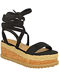 cdd49226d06 Fashion Thirsty Heelberry® Womens Ladies Flatform Cork Espadrille Wedge Sandals  Ankle Lace Up Shoes Size