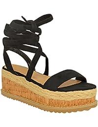 Femmes Paltes Liège Sandales Espadrille Semelle Compense Cheville Chaussures À Lacets Taille