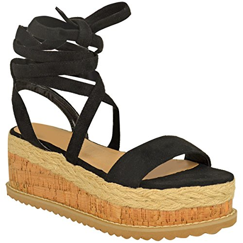 Damen Plateau Kork Espadrilles Sandalen Mit Keilabsatz Knöchel Schnüren Schuh Größe - Schwarz Kunstwildleder, 41
