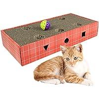 Mlec tech Rascador para Gatos con Pelota Alfombrilla Rascadore Almohadilla de Gato Durable Reciclable de Cartón Juguete de Gato