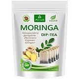 Moringa Tee 100% natürlich & vegan (wahlweise Moringa-Blattmischung, Apfel-Zimt, Granatapfel, Ingwer, Minze). Qualitätsprodukt von MoriVeda (20 Beutel Moringa Ingwer)