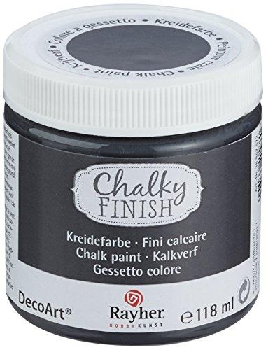 Antik-look-finish (Rayher 38867572 Chalky Finish auf Wasser-Basis, Kreide-Farbe für Shabby-Chic-, Vintage- und Landhaus-Stil-Looks, 118 ml, anthatzit)