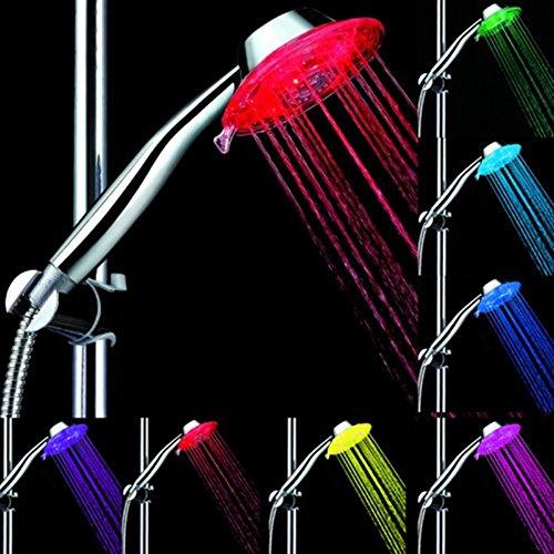Preisvergleich Produktbild JZHY 7 Colour RGB Automatische LED-Licht Farbwechsel-Runde Duschkopf Badezimmer-Wasser-Hahn-Handheld LED-Licht Dusche Tap