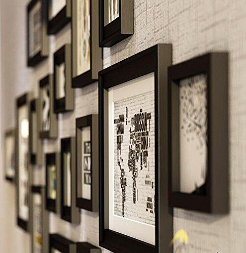 Cadre en bois massif, cadre photo cadre de décoration murale Cadre photo combiné, avec des images, ensemble de 17 cadres de collage @The harvest season ( Couleur : Noir )