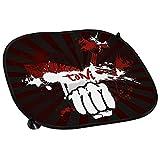 Auto-Sonnenschutz mit Namen Toni und schönem Motiv mit dunkelroten Streifen und Faust | Auto-Blendschutz | Sonnenblende | Sichtschutz