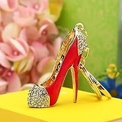 Idea Regalo - Wdoit Keychain Girls portachiavi in metallo tacchi alti auto portachiavi auto borsetta portachiavi ciondolo a forma di diamante, metallo, Red