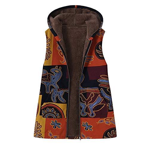Xmiral Mantel Weste Damne ärmelBlumenDruck mit Kapuze Taschen Vintage-Aufmaß Outwear (5XL-Ärmellos,Gelb)