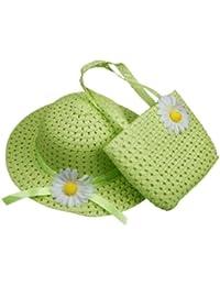 Decus 1 Set Schön Niedlichen Grün Mädchen Sonnenhut Weiß Blume mit Weiß Taschen für Kind