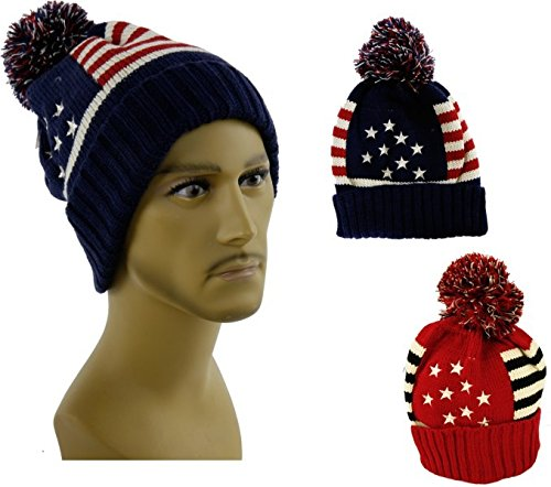 Mütze USA Stars and Stripes rot Pudelmütze coole Amerika Haube
