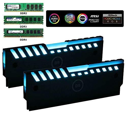 Miwatt ARGB RAM Kühler RGB DDR Speicher Kühlkörper Kühlweste Fin Strahlung für DIY PC-Spiel Overclocking MOD DDR3 DDR4 (kompatibel mit Aura Sync, RGB Fusion und Mystic Light Sync) 2 Pack -