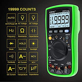 Multimeter, 4EVERHOPE AN870 Digital Multi Tester True RMS 19999 Counts Auto Ranging Meter for AC/DC Voltage & Current, Resistance, Capacitance, Diode, Frequency, Duty Cycle Testing with LCD Display