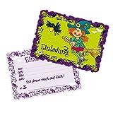 16-teiliges Set: 8 Einladungskarten mit 8 Umschläge * HEXE MIRA MISTELZWEIG * für Kindergeburtstag vom Lutz Mauder Verlag // 26010 // Kinder Geburtstag Einladung Karten Halloween Gespenster Mädchen Lila
