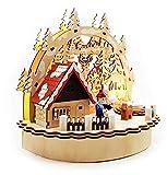 Wichtelstube-Kollektion Räucherhaus mit Teelichthalter und LED Beleuchtung Winterkind Mini Schwibbogen Weihnachten