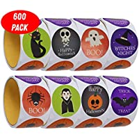 The Twiddlers 600 Pegatinas de Halloween - 5 Diseños Diferentes - Mensajes de Feliz Halloween