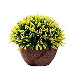 Dosige Künstliche Pflanzen Topf Sträucher Gras Kunstpflanzen Aussenbereich für Draußen Garten Hause Deko Kunststoff Gelb