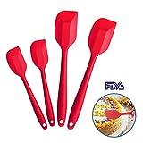 4 Silikon Spatel Hitzebeständig Spatulas Schwarz Rot BPA Frei Silikon Teigschaber Schwarz Rot Set Nicht-Stick, Einem Kern Edelstahl und Nahtloses Einteiliges Design