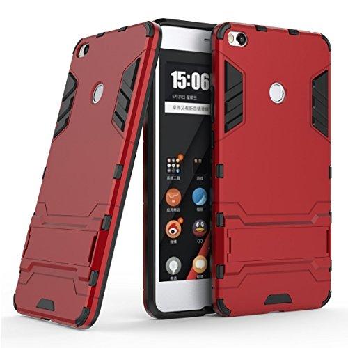 Funda para Xiaomi Mi Max 2 (6,44 Pulgadas) 2 en 1 Híbrida Rugged Armor Case Choque Absorción Protección Dual Layer Bumper Carcasa con pata de Cabra (Rojo)