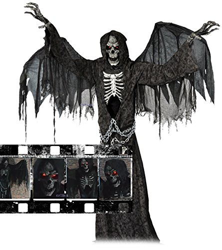Animatronic Halloween Hammer Todesengel geflügelter Sensenmann lebensgroß mit Flügeln Sound Bewegung USA Profi Deko Show Party Fun (Halloween Animatronics)