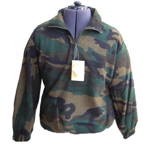 Sweatshirt Shirt Pullover Herren Fleece Zip Warm Camouflage Jagd Schnee Winter L grün