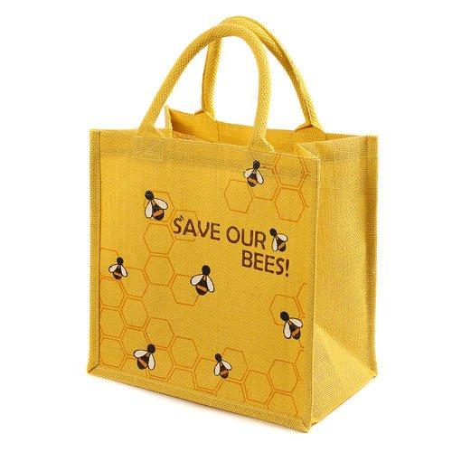 Jute Tasche Einkaufstasche Gepolsterte Griffe Save our Bienen gelb
