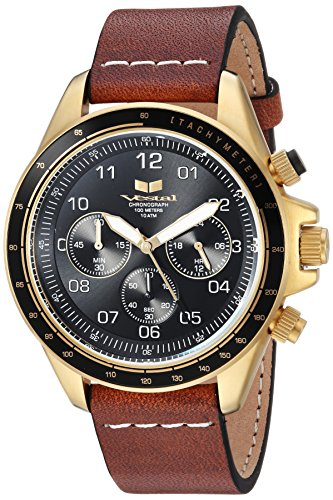 Vestal 'ZR2' Quartz Stainless Steel and Leather Casual Watch, Color:Brown (Model: ZR243L25.LBWH)