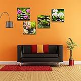 CrmOArt - Toile Wall Art Zen Toile Prints SPA Pierre Rose Nénuphar et Frangipani Image - 4 Pièces Encadrée Toile Art Moderne Artwork Toile Peinture pour Home Office Cuisine Décoration