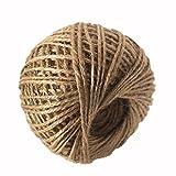 valink 1Rolle 50m Natural Hessian Jute Jute Seil, Bindfäden Kordel, Hanf Seil String, 2mm rustikal Wrap Geschenk Verpackung String Hochzeit Party Dekoration