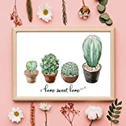 Home Sweet Home Watercolour Cacti Home Decor New Home Gift Wall Art Hallway Print