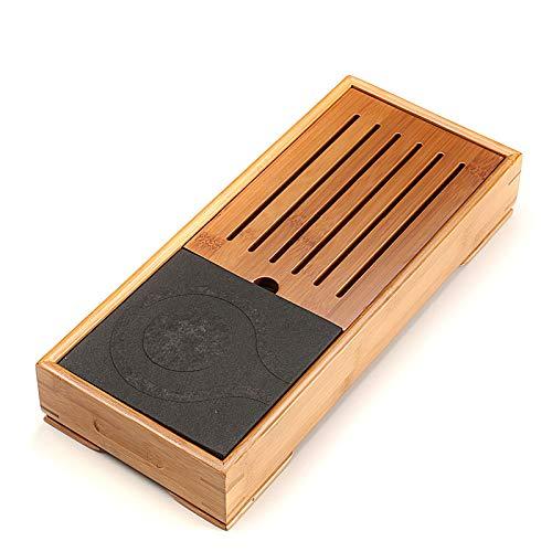 SEEKSUNG Bambus Tee-Tablett, Mini Natürlicher schwarzer Stein Teetisch, Schublade Typ kleinen Tee-Tablett, im japanischen Stil Tee-meer Tablett, lang 39 cm, Breite 16.5 cm, Höhe 6.5 cm