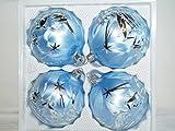 Kugel eisblau mit silberner Winterlandschaft 10cm 4 Stück per Box