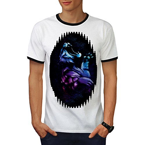 Nacht Tiger Tier Tier Tier Jagd Herren L Ringer T-shirt | Wellcoda (Türkei-jagd-t-shirt)