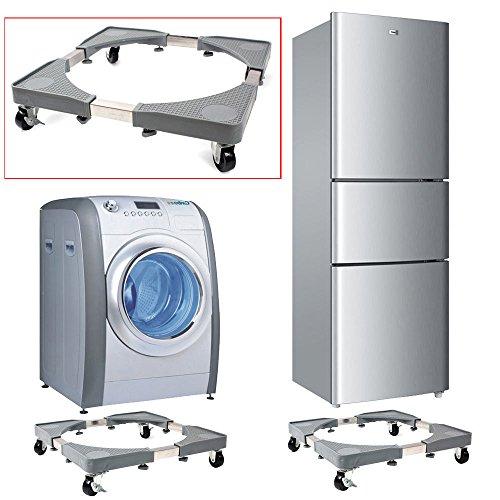Base de machine à laver réfrigérateur Chariot Roller réglable Support avec 4 Roulettes en caoutchouc 46 - 65 x 46 - 65 cm pour sèche-linge Machine à l...