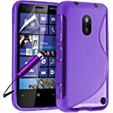 Supergets Schalenschutzhülle Hydro-Gel für Nokia Lumia 620 (Wellen-Design, inklusive schwarzem Stylus-Stift) Schwarz Violett violett