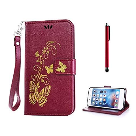 KSHOP PU Leather Cover with Burgundy Red Bronzing Print Butterfly Golden for Huawei Y6 Pro / Honor Play 5X Wallet Case Beautiful Painting Hard Back Case with Stand Function Anti-Shock Shockproof Protective Bumper Shell + Metal Touch Pen, Rose Red