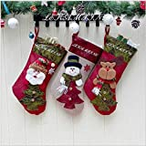 LEHONG Klassische Weihnachten Strumpf Geschenk, Weihnachtssocken Beutel Weihnachtssocke Christmas Stockings, 3-er Set 48cm