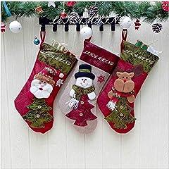 Idea Regalo - LEHONG Calza di Natale Set 3 Pezzi Calze Natale per Decorazione Natalizia 48 * 26cm
