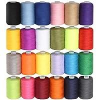 CURTZY - Hilo maquina coser / hilos overlock - 24 Pzas 914 Metros hilo coser - hilo de algodón Colores Variados Brillantes - Set Grande hilo de poliester
