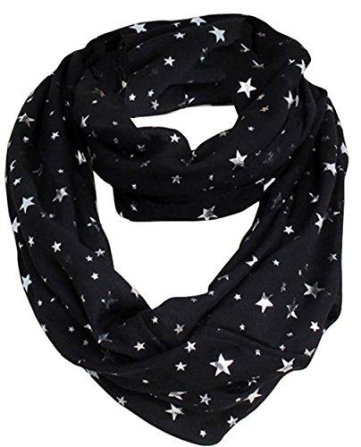 EOZY Bufanda Cuello Mujer Scarf Gasa Vintage Patrón Estrellas Negro