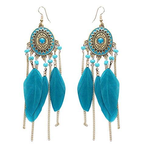 Demiawaking Donna Europa Stile Lungo retrò catena e piuma nappa orecchini pendenti, Lega, colore: Blue, cod. 118595