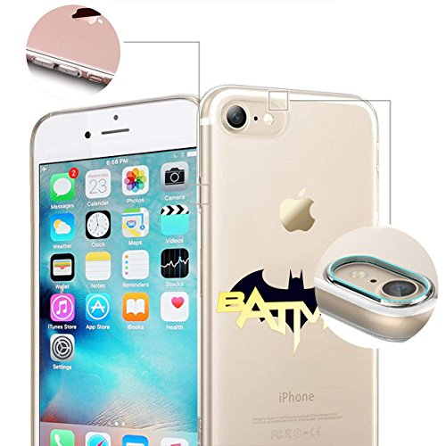 finoo | iPhone 8 Plus Weiche flexible Silikon-Handy-Hülle | Transparente TPU Cover Schale mit Motiv | Tasche Case Etui mit Ultra Slim Rundum-schutz |Batman Comic Close Up Batman Logo and font