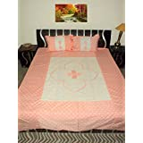 Amita's Home Furnishing Orange Color Patch Work Double Bed Sheet With 2 Pillow Cover