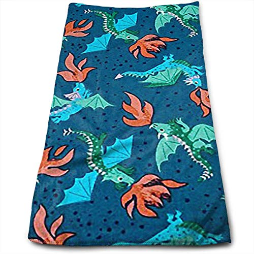 ERCGY Dragons Flying Xmas Blue Polyester Bath Towels for Hotel-Spa-Pool-Gym-Bathroom - Super Soft Absorbent Ringspun Towels